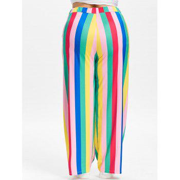 High Waisted Striped Plus Size Wide Leg Pants - multicolor 3X
