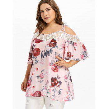 Lace Trim Plus Size Floral Printed Blouse - LIGHT PINK 5X