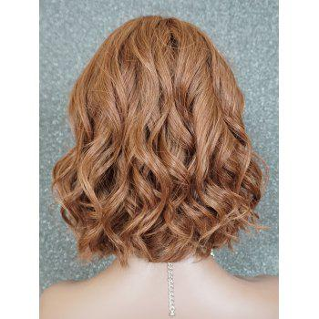 Short Middle Part Wavy Human Hair Wig - LIGHT BROWN