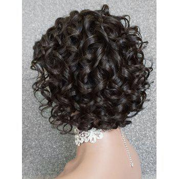 Short Inclined Fringe Curly Wave Lace Front Human Hair Wig - NATURAL BLACK