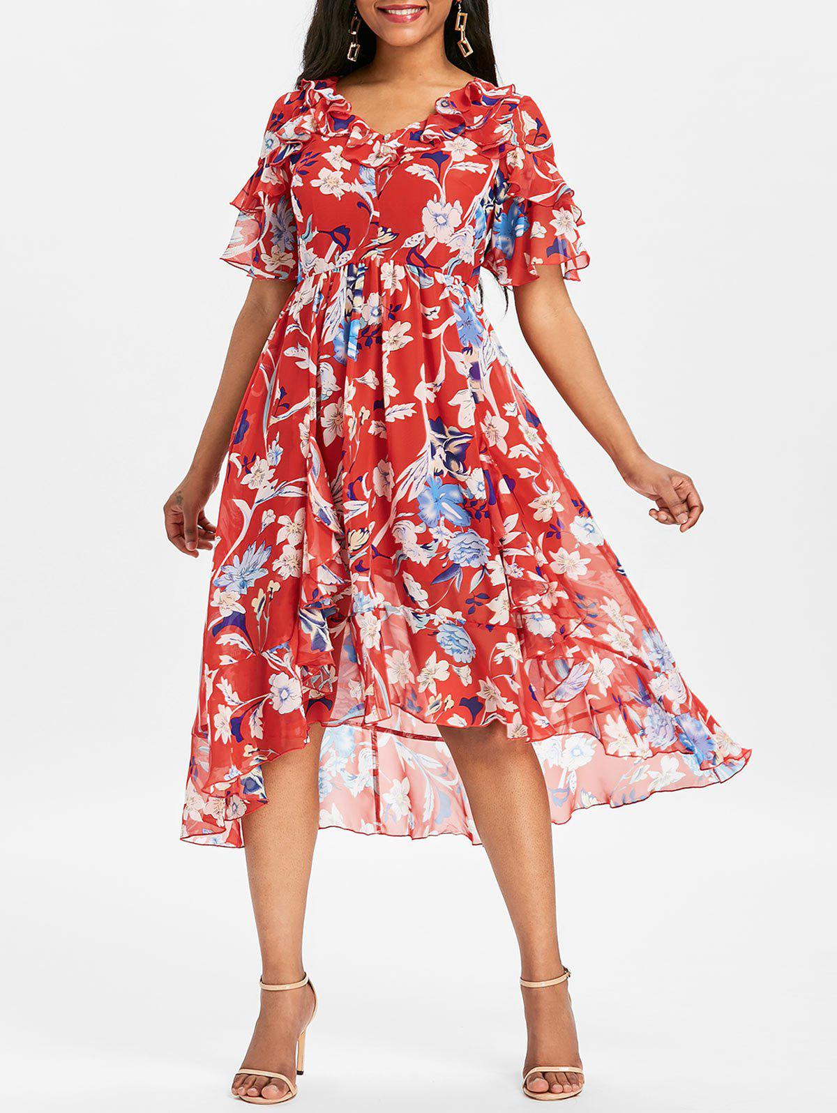 Flounce Print Midi Dress - RED M