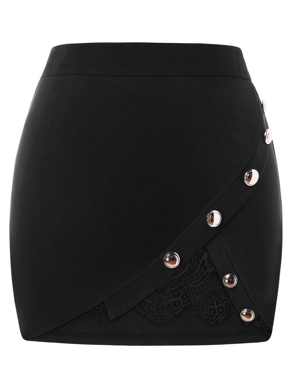 Plus Size Lace Panel Bodycon Skirt - BLACK L