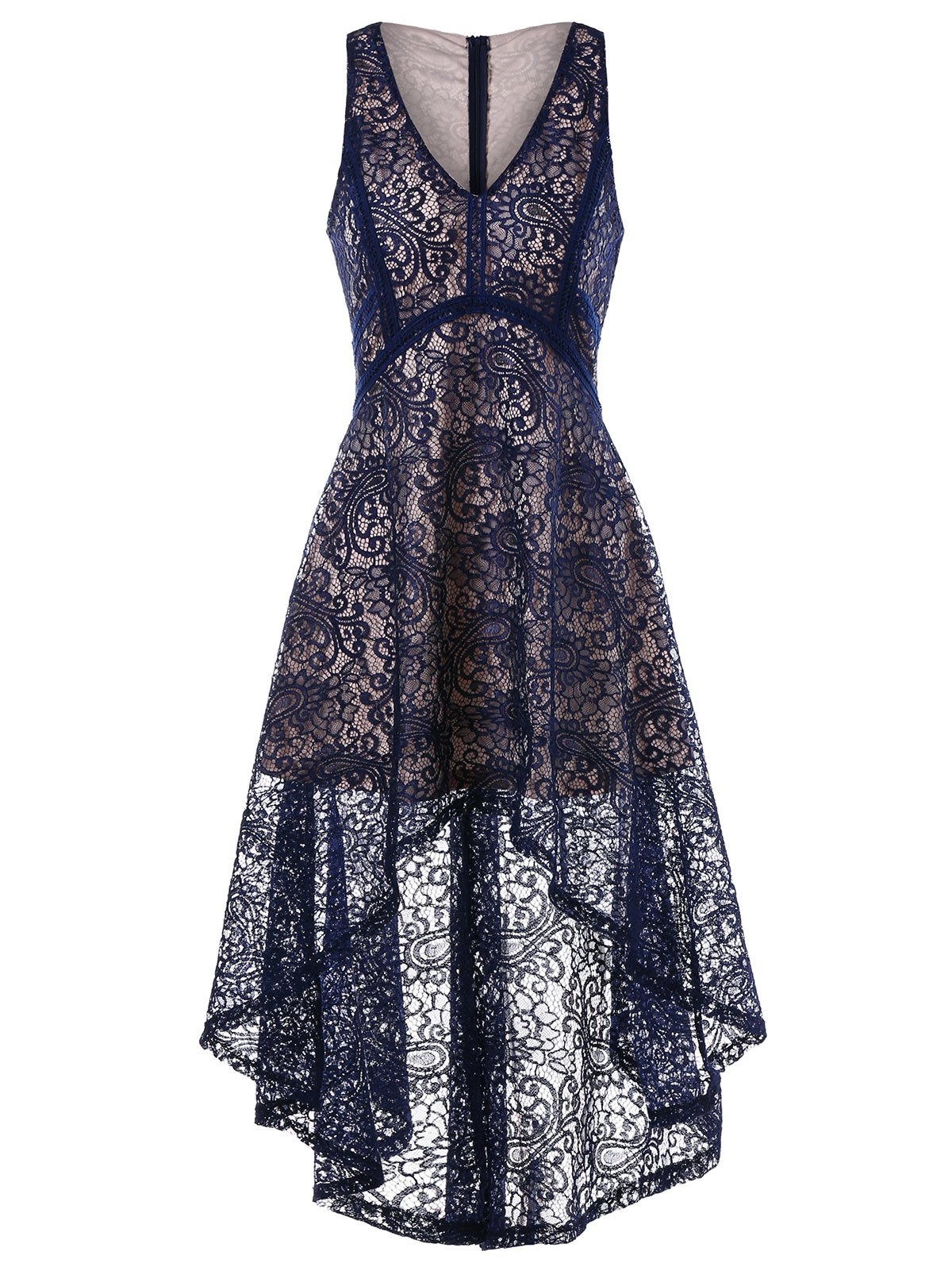 Sleeveless Empire Waist High Low Lace Dress - NAVY BLUE XL