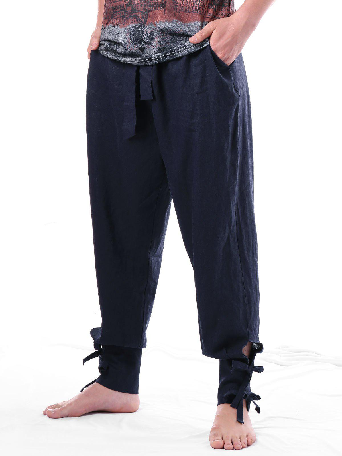 Bow Tie Narrow Feet with Belt Harem Pants, Dark slate blue