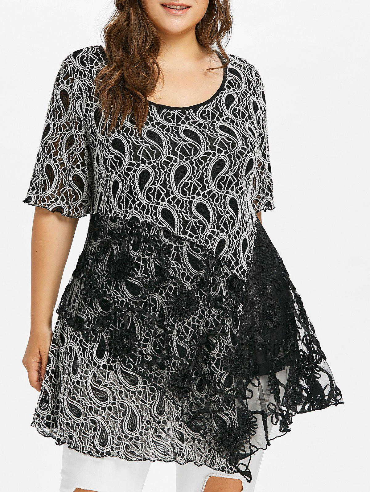 Plus Size Paisley Floral Lace Swing T-shirt