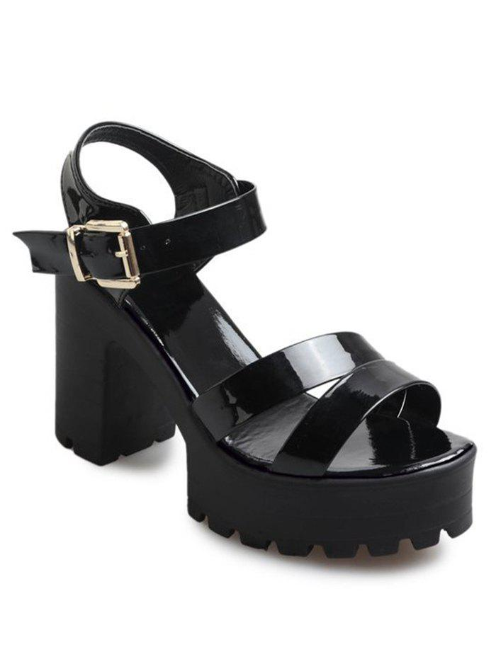 Chunky Heel Platform Buckled Strap Sandals - BLACK 39