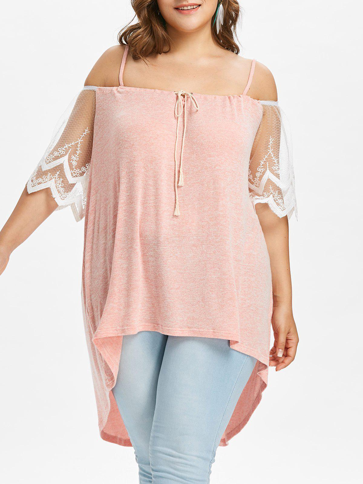 Plus Size Open Shoulder High Low Blouse - LIGHT PINK 2X