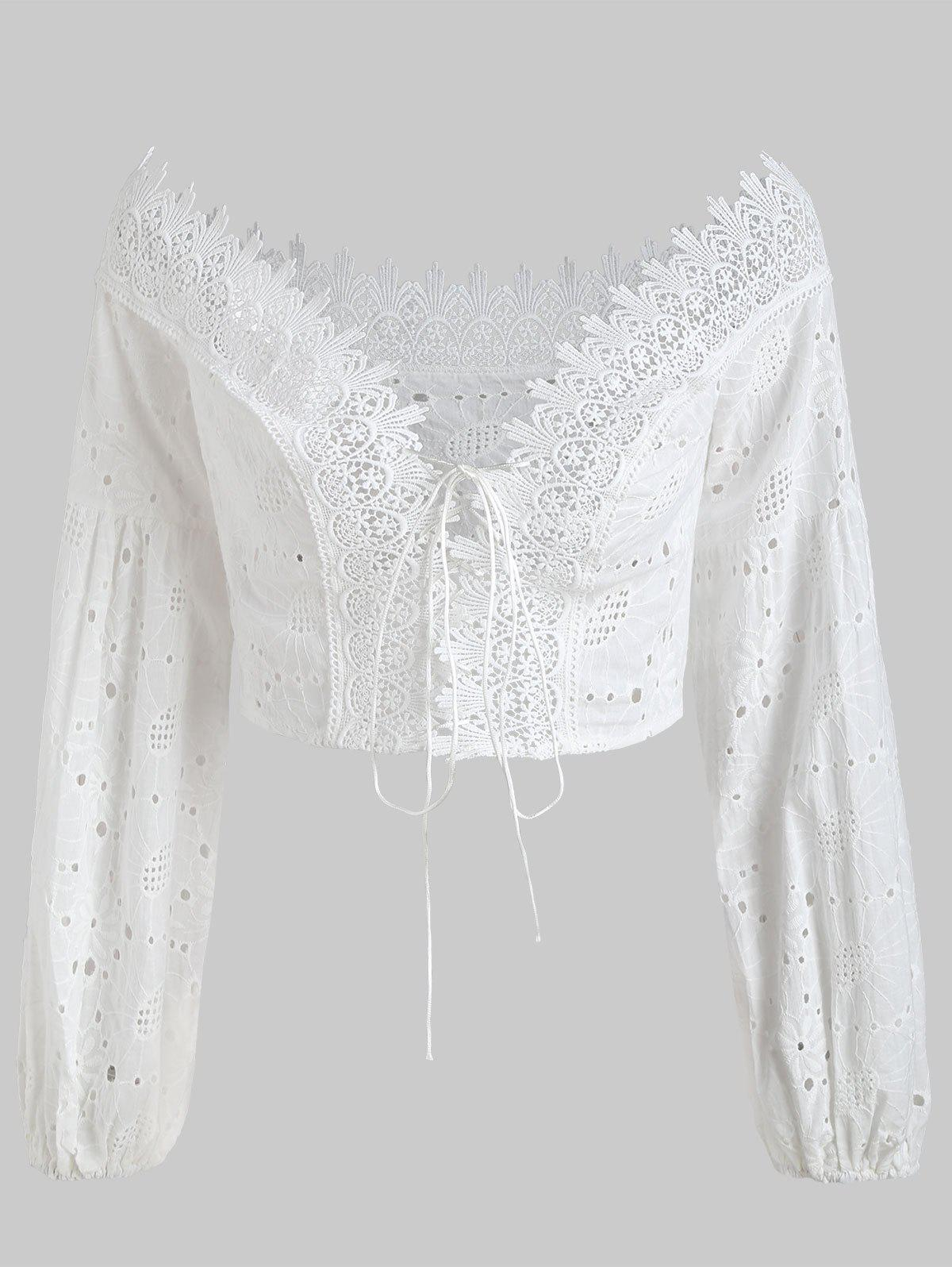 Eyelet Lace-up Off The Shoulder Top - WHITE M