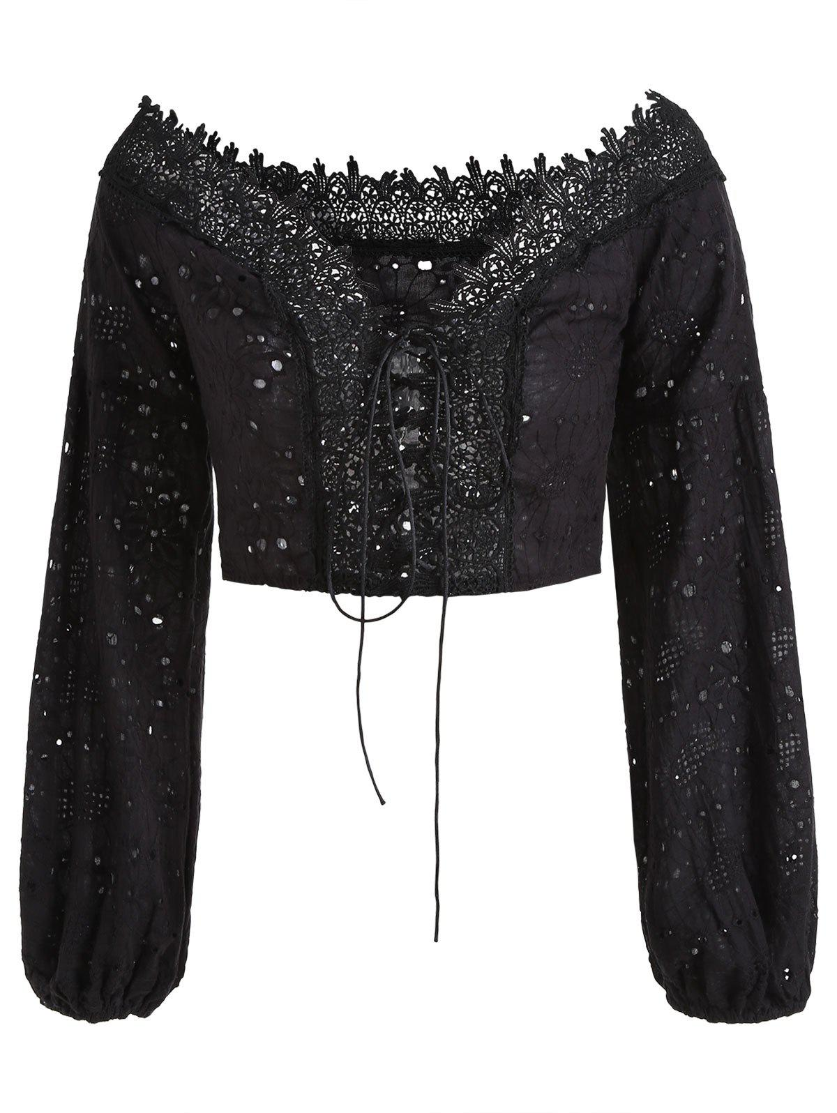 Eyelet Lace-up Off The Shoulder Top - BLACK M