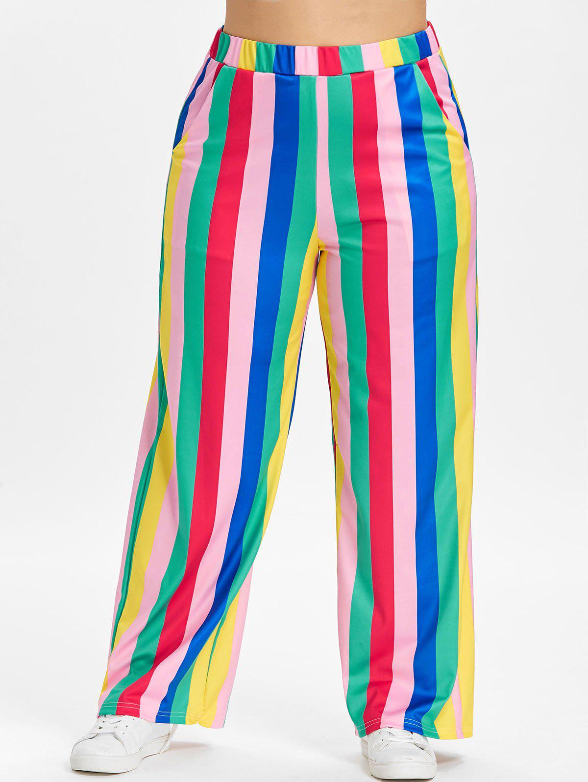 High Waisted Striped Plus Size Wide Leg Pants - multicolor L