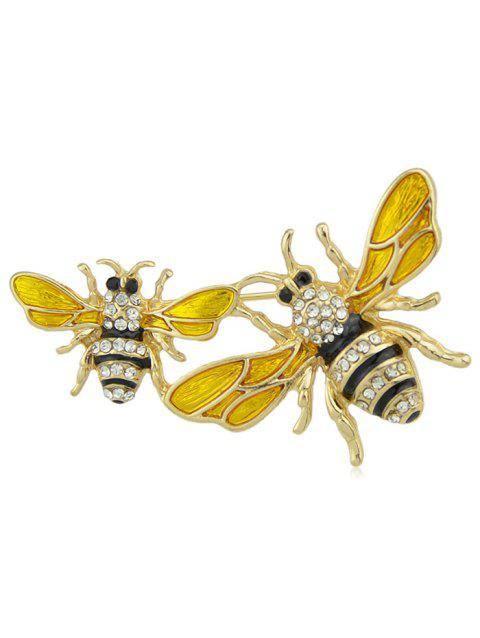 Honeybees Shaped Faux Diamond Brooch - GOLD