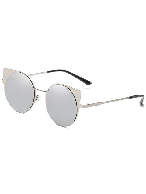 Metal Frame Flat Lens Catty Circle Sunglasses - PLATINUM