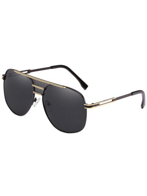 Metal Frame Crossbar Driving Travel Pilot Sunglasses - BLACK