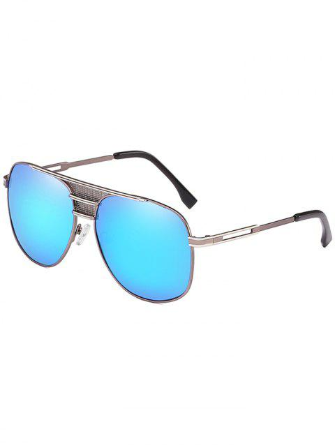 Metal Frame Crossbar Driving Travel Pilot Sunglasses - BUTTERFLY BLUE