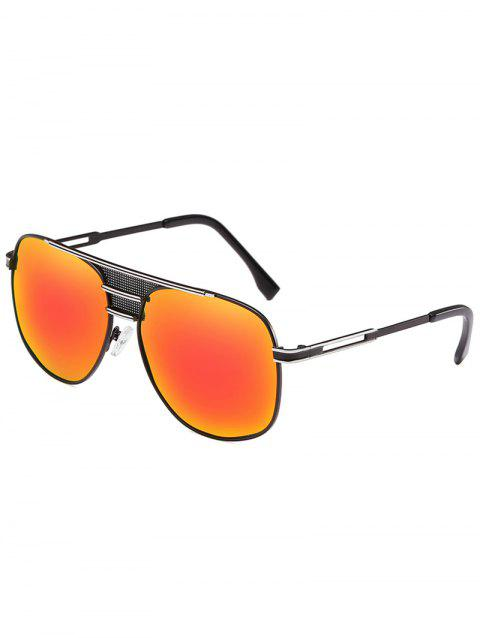 Metal Frame Crossbar Driving Travel Pilot Sunglasses - SAFFRON