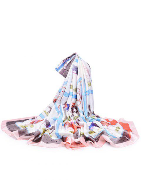 Soft Horse Pattern Embellished Silky Spring Fall Scarf - LIGHT PINK