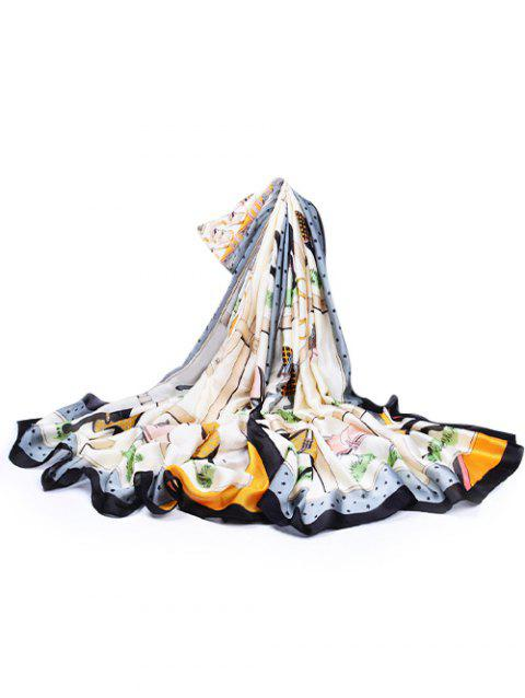Soft Horse Pattern Embellished Silky Spring Fall Scarf - BLACK