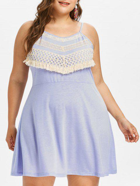 Plus Size Crochet Panel Shift Dress - MAUVE L