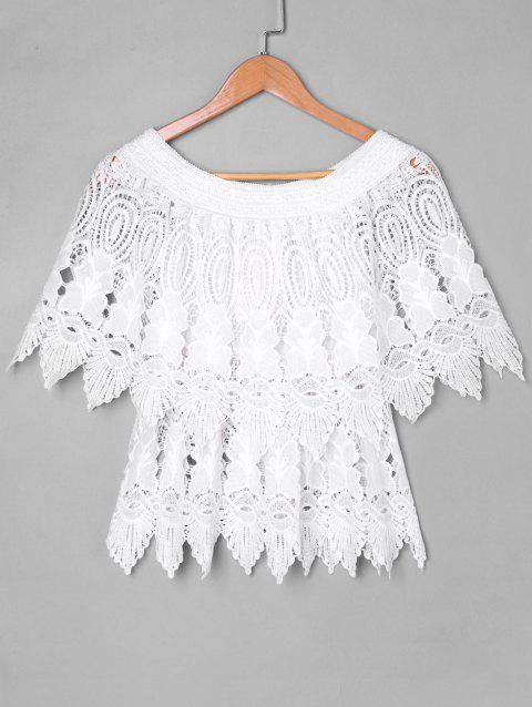 Holey Lace Cape Blouse - WHITE M