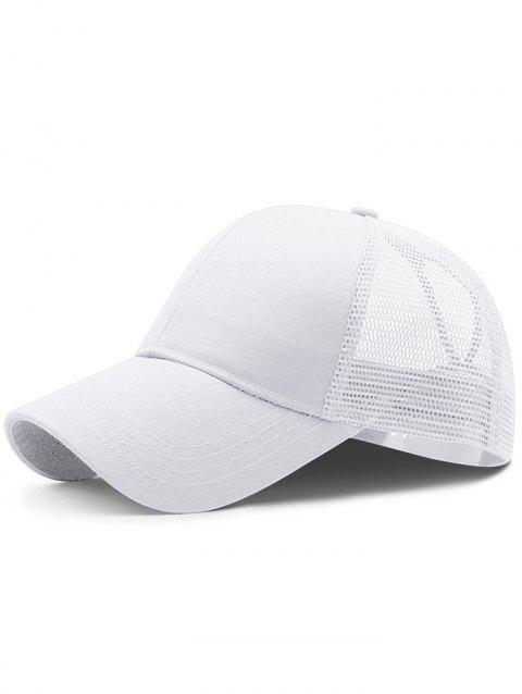 Soft Solid Color Mesh Breathable Sunscreen Hat - WHITE