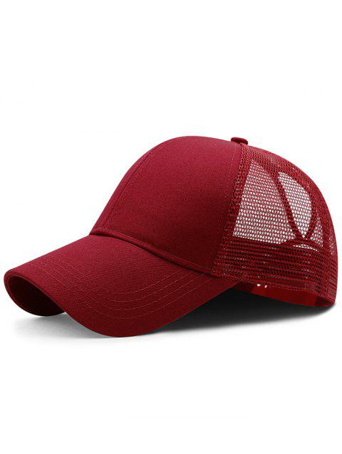 Soft Solid Color Mesh Breathable Sunscreen Hat - RED WINE