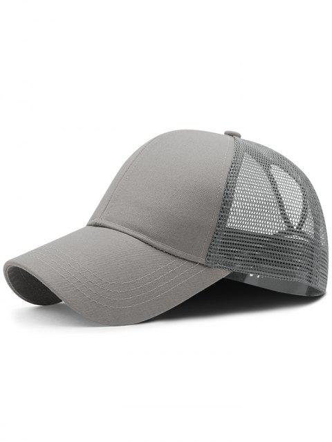 Soft Solid Color Mesh Breathable Sunscreen Hat - GRAY CLOUD