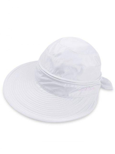 Multifunctional Removable Top Cover Folding Wide Brim Sun Hat - WHITE
