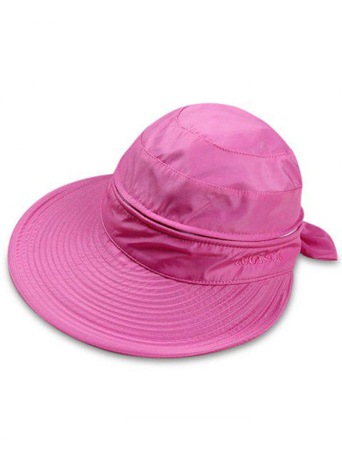 Multifunctional Removable Top Cover Folding Wide Brim Sun Hat - DEEP PINK