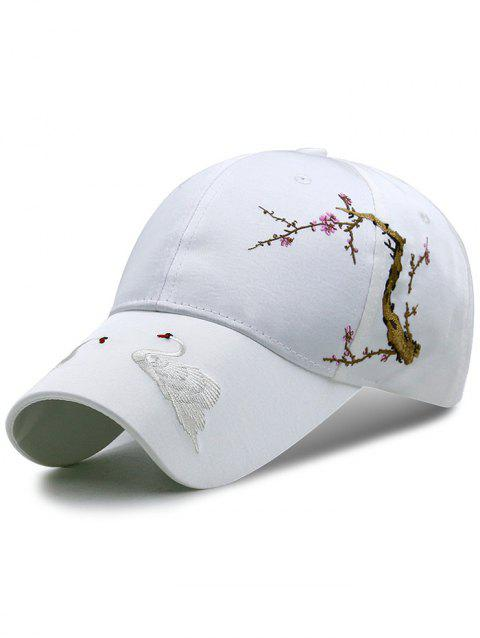 Swan Embroidered Breathable Sunscreen Hat - WHITE