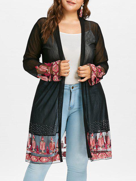 Plus Size Embroidery See Through Coat - BLACK 1X