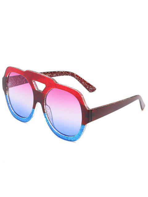 Oudoor Hollow Out Plastic Frame Oversized Sunglasses - BLUE