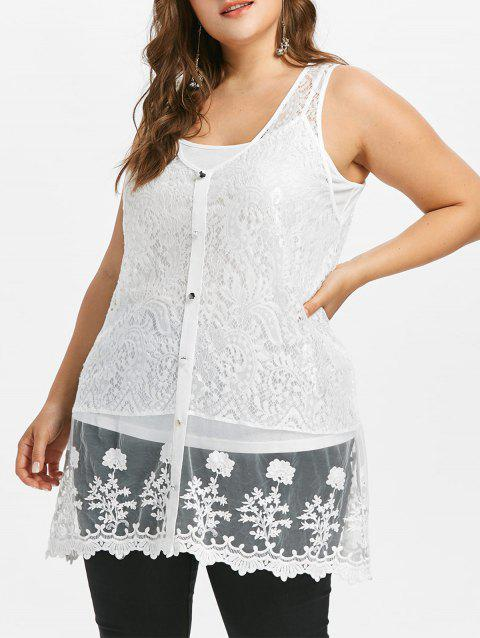 Plus Size Sheer Lace Tank Top with Button - WHITE 4X