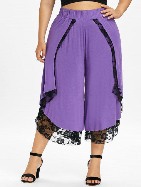 Plus Size Lace Front Wrap Wide Leg Pants - PURPLE 1X