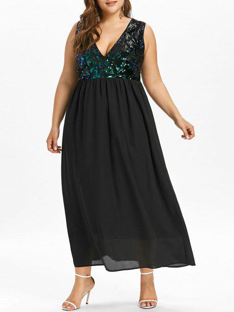 Plus Size Sequined Trim Sleeveless Flowing Dress - BLACK 1X