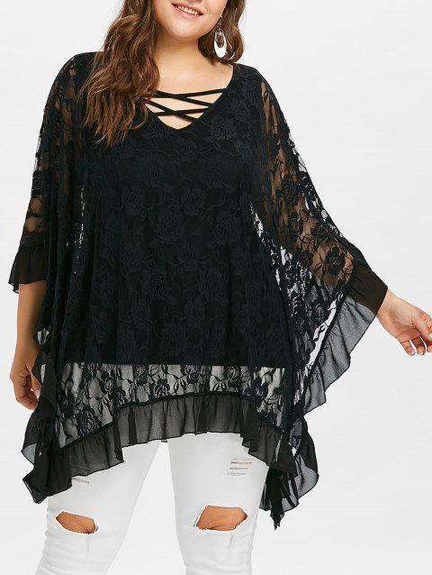 Plus Size Butterfly Sleeve Floral Flounced Blouse - BLACK 5X