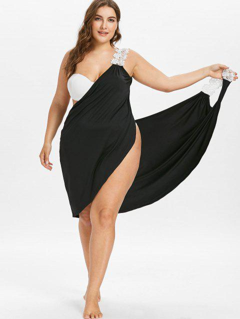 faf914ecb8 17% OFF] 2019 Plus Size Beach Cover-up Wrap Dress In BLACK | DressLily