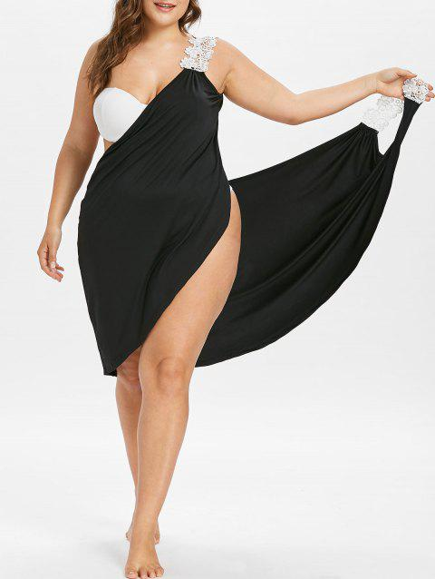 Plus Size Beach Cover-up Wrap Dress - BLACK 1X