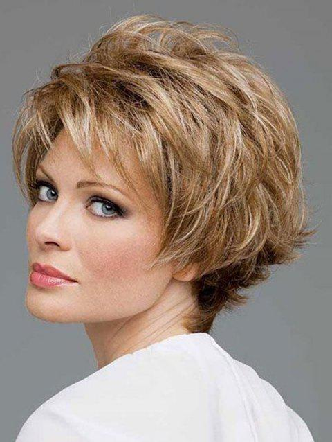Short Oblique Bang Natural Straight Colormix Synthetic Wig - multicolor