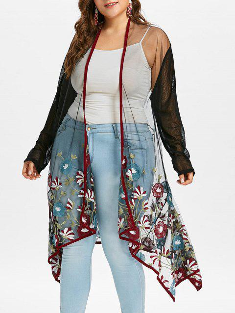 Plus Size Embroidery See Thru Coat