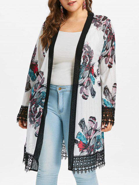 Plus Size Crochet Print Long Coat