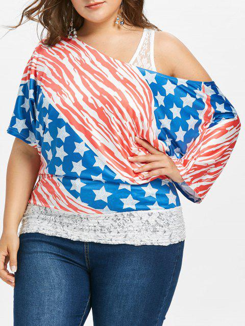 7ddbdfc0 36 Off 2019 Plus Size Usa Flag Lace Insert T Shirt In Multicolor
