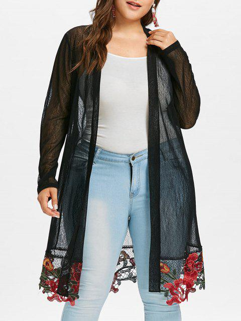 Plus Size Longline Embroidered Coat - BLACK 3X