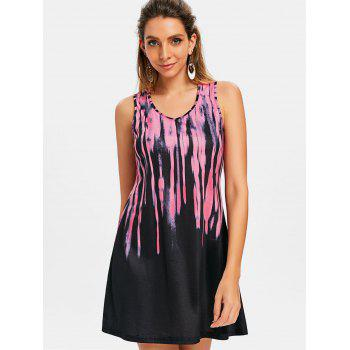Tie Dyed Printed Tank Dress - HOT PINK S