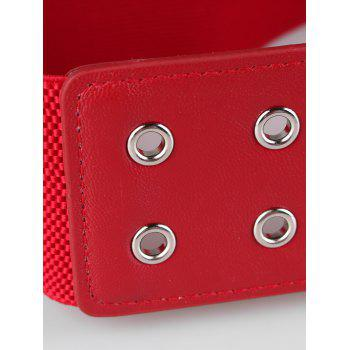 Vintage Hollow Out Rivets Faux Leather Elastic High Waist Belt - RED