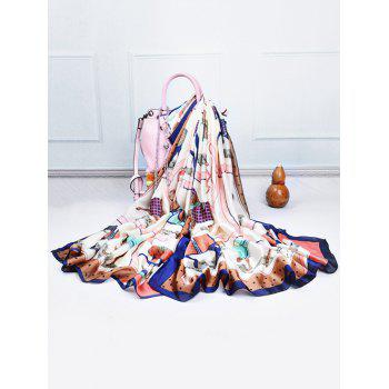 Soft Horse Pattern Embellished Silky Spring Fall Scarf - DEEP BLUE