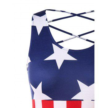 Plus Size American Flag Mini Strappy Dress - multicolor 1X