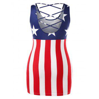 Plus Size American Flag Mini Strappy Dress - multicolor 3X