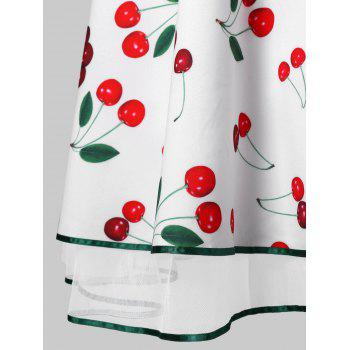 Vintage Cherry Print Pin Up Dress - WHITE XL