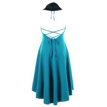 Halter Convertible Hooded High Low Dress - MACAW BLUE GREEN M