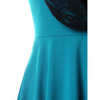 Halter Convertible Hooded High Low Dress - MACAW BLUE GREEN L